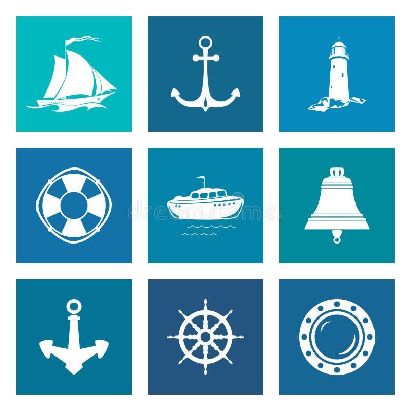 Sistema de Marine Icons azul stock de ilustración
