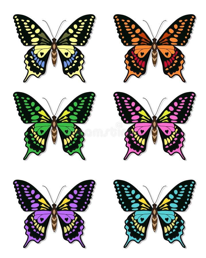 Sistema de mariposas multicoloras en un fondo blanco, una colección de mariposas Ilustración del vector libre illustration