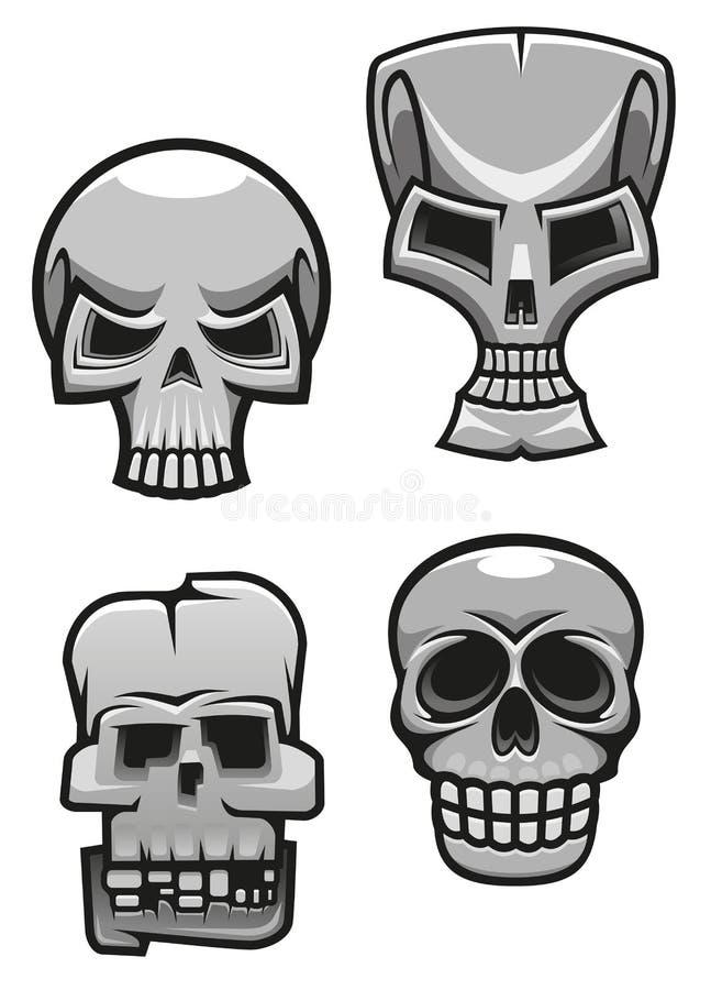 Sistema de mascotas del cráneo del monstruo ilustración del vector