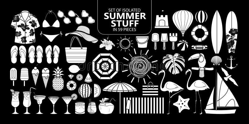 Sistema de materia aislada del verano en 59 pedazos stock de ilustración