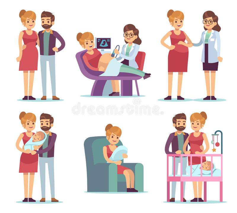 Sistema de maternidad del embarazo Familia feliz del bebé recién nacido de la gimnasia del examen médico del médico de la mujer q libre illustration