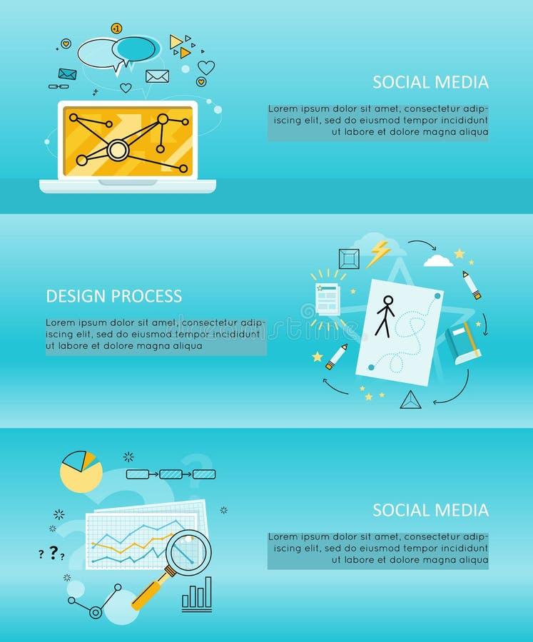 Sistema de medios aviadores sociales ilustración del vector
