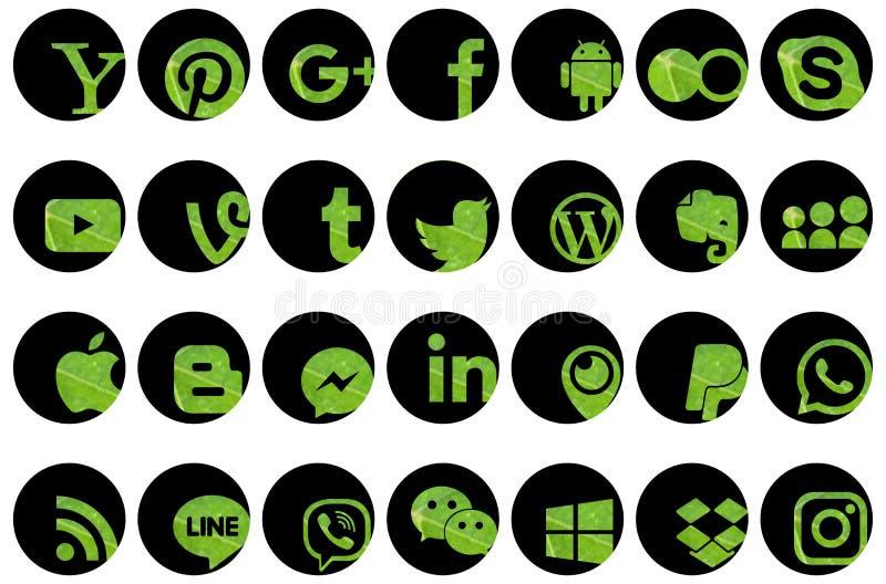 Sistema de medios iconos sociales stock de ilustración