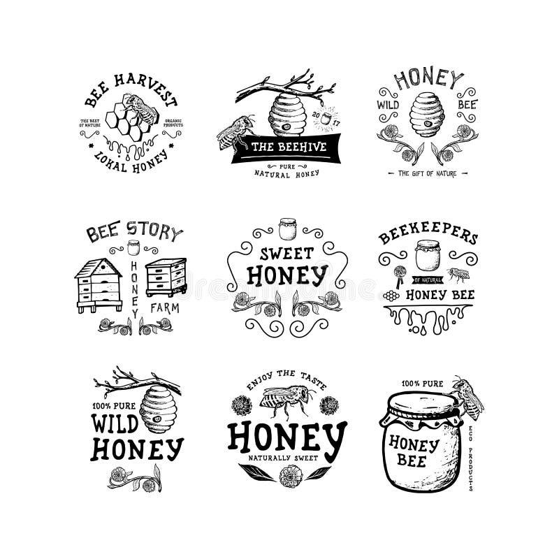 Sistema de miel de la insignia stock de ilustración