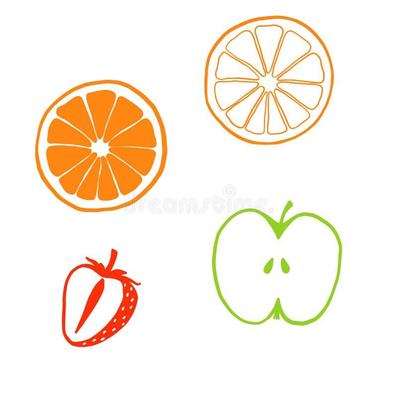 Sistema de mitades de la fruta Rebanadas de manzana, limón, naranja, pomelo, fruta de la fresa ilustración del vector