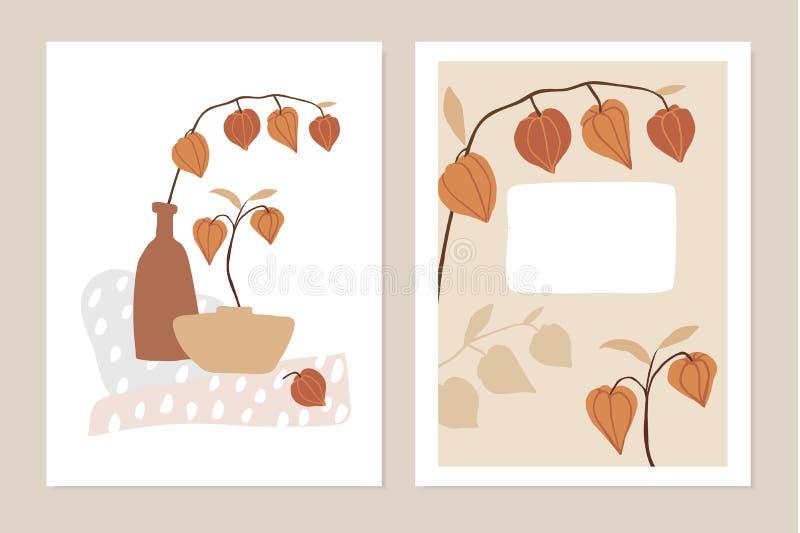 Sistema de moda de las tarjetas de felicitación florales de la caída, invitaciones Fruta, hojas, ramas y florero del Physalis Geo stock de ilustración