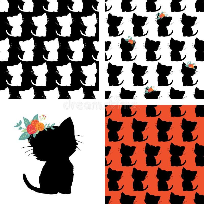 Sistema de modelo inconsútil del gato y de rojo blanco del negro de la silueta del gatito Repetición del fondo animal del vector  libre illustration