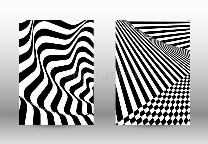 Sistema de modelos abstractos con las l?neas torcidas stock de ilustración