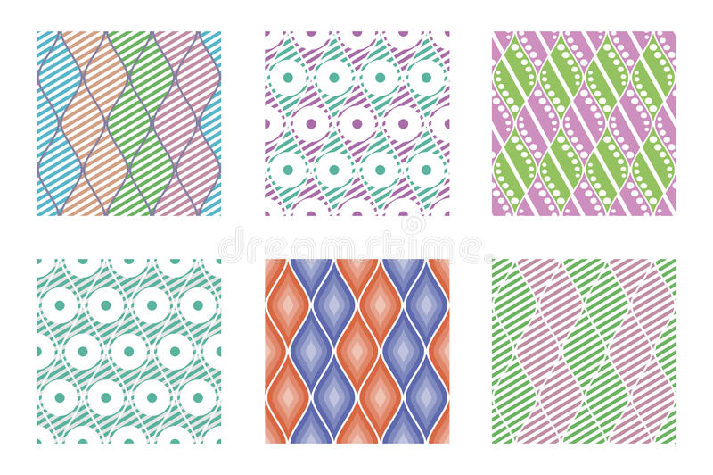 Sistema de modelos coloridos geométricos del vector inconsútil con los elementos ornamentales, fondo sin fin con adornos étnicos ilustración del vector