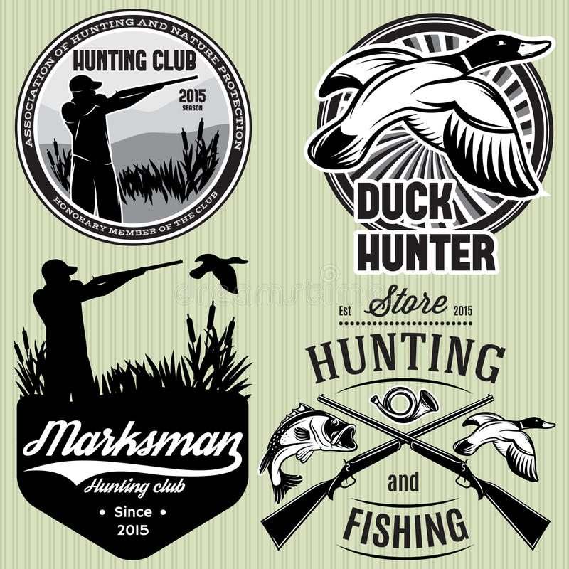 Sistema de modelos con el pato, inmersión, arma, cazador para cazar el emblema ilustración del vector