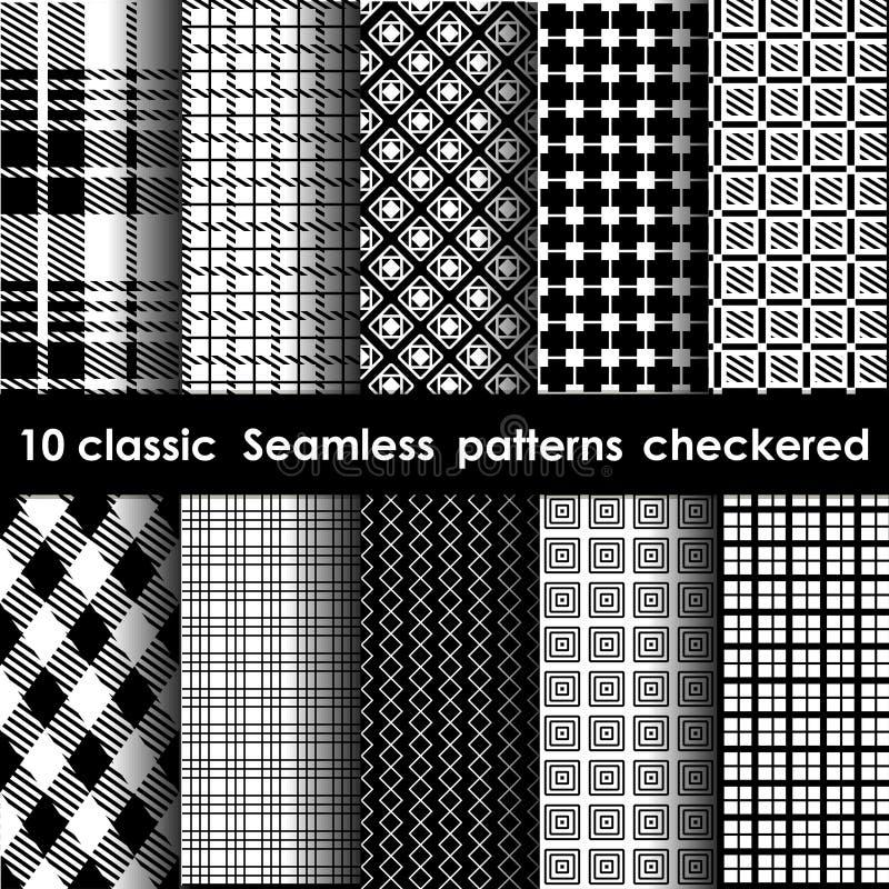 Sistema de 10 modelos a cuadros inconsútiles clásicos stock de ilustración