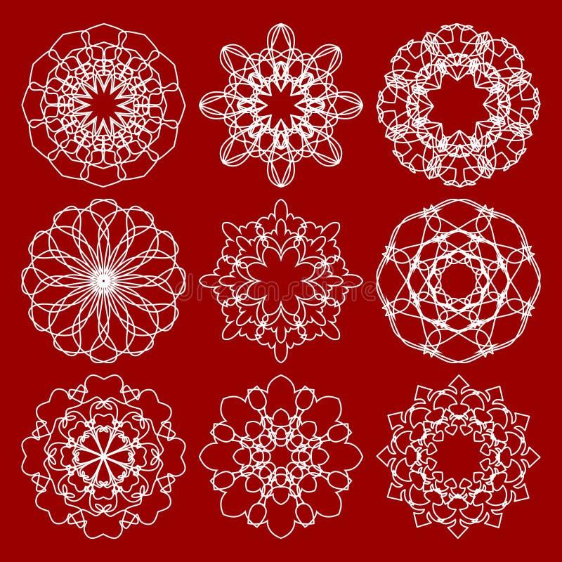 Sistema de modelos de moda del círculo del monoline del vintage Modelos simétricos geométricos del cordón en diseño del art déco libre illustration