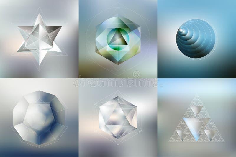 Sistema de modelos del polígono con la reflexión libre illustration