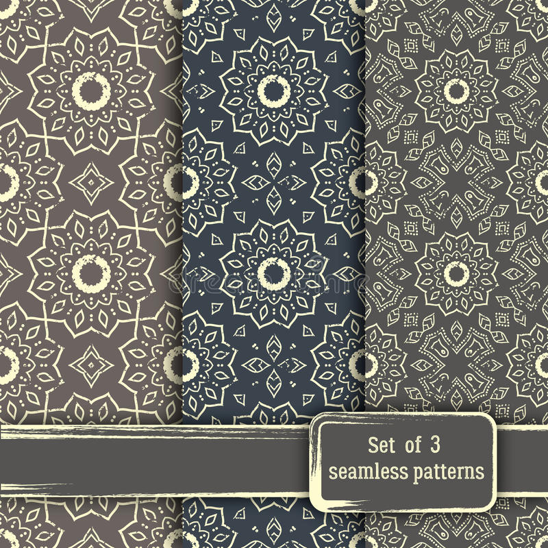 Sistema de modelos dibujados mano inconsútil de la mandala Elementos del vintage adentro stock de ilustración