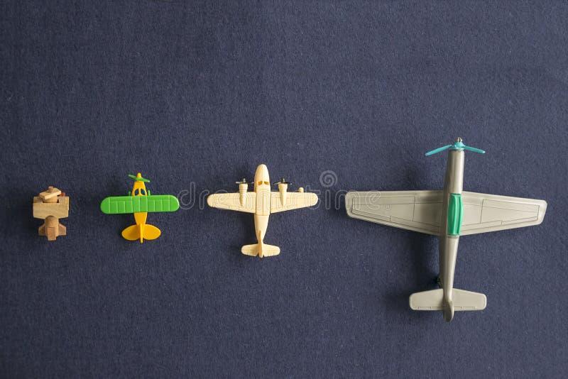 Sistema de modelos de escala de aeroplanos imagen de archivo libre de regalías
