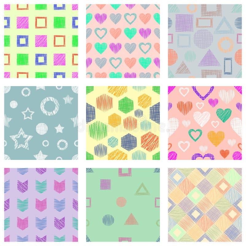 Sistema de modelos geométricos del vector inconsútil con diversas figuras geométricas, formas fondo sin fin en colores pastel con ilustración del vector