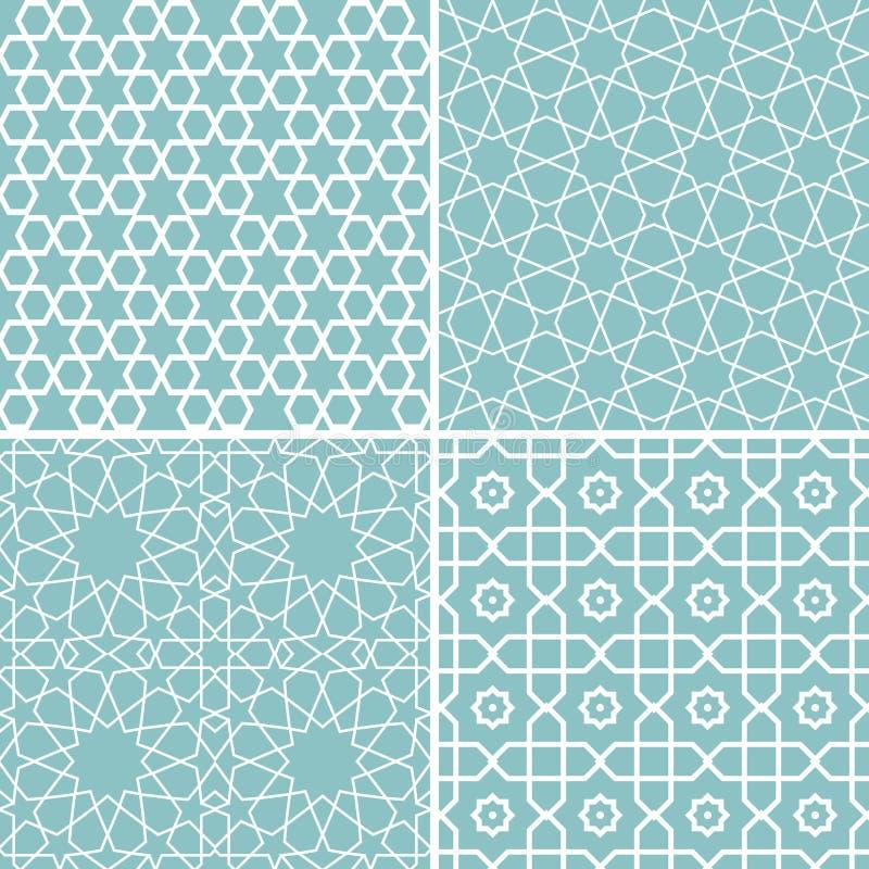 Sistema de modelos geométricos en estilo árabe stock de ilustración
