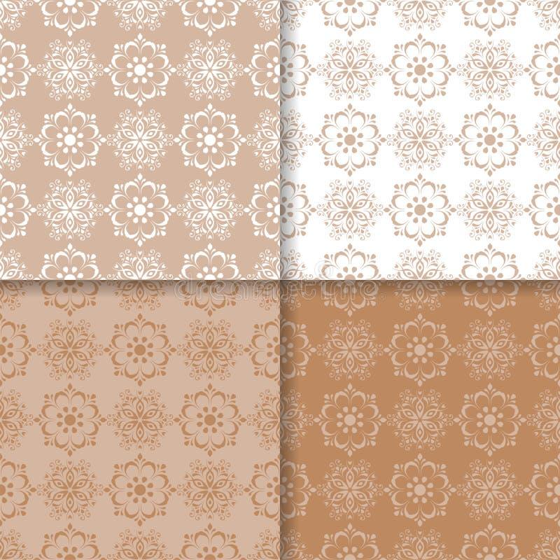 Sistema de modelos inconsútiles coloreados florales Fondos del blanco de Brown ilustración del vector