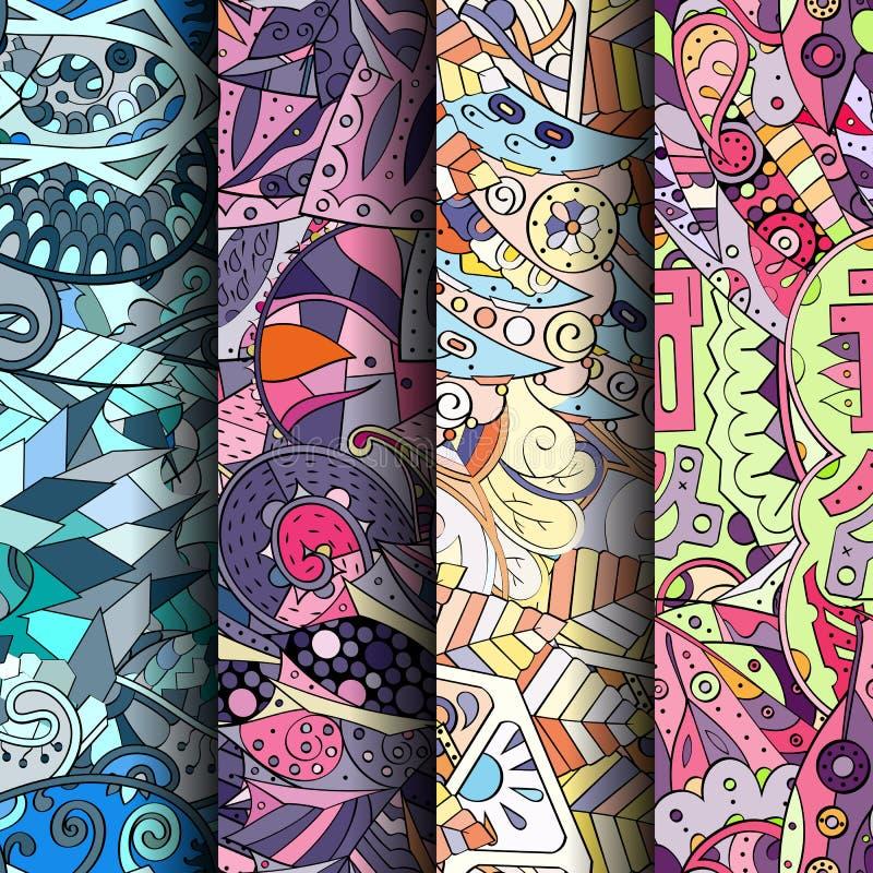 Sistema de modelos inconsútiles coloridos del tracery Curvado garabateando los fondos para la materia textil o imprimiendo con me stock de ilustración