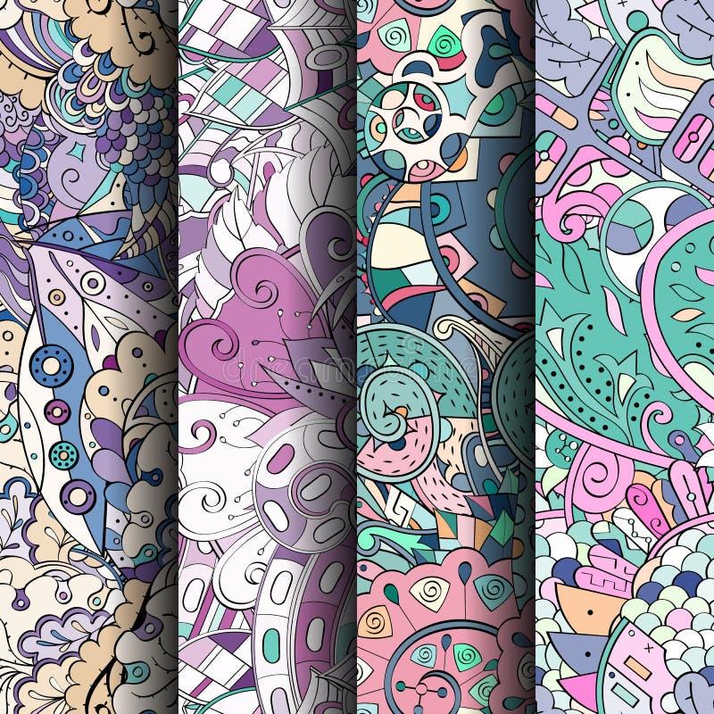 Sistema de modelos inconsútiles coloridos del tracery Curvado garabateando los fondos para la materia textil o imprimiendo con me libre illustration