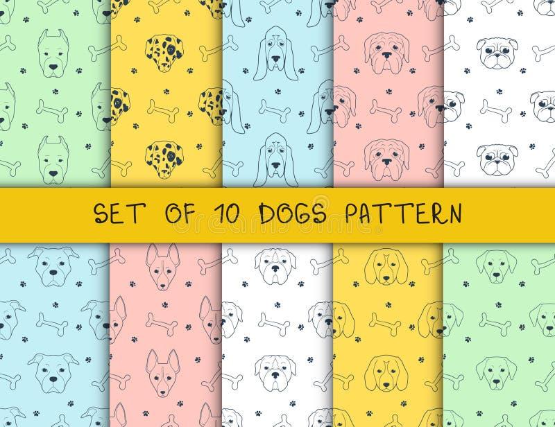 Sistema de 10 modelos inconsútiles con diversos perros de las razas libre illustration