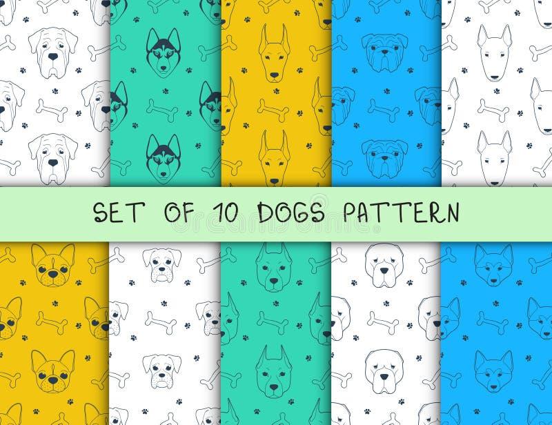 Sistema de 10 modelos inconsútiles con diversos perros de las razas stock de ilustración