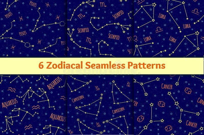 Sistema de modelos inconsútiles con la imagen de las muestras y de las constelaciones del zodiaco stock de ilustración