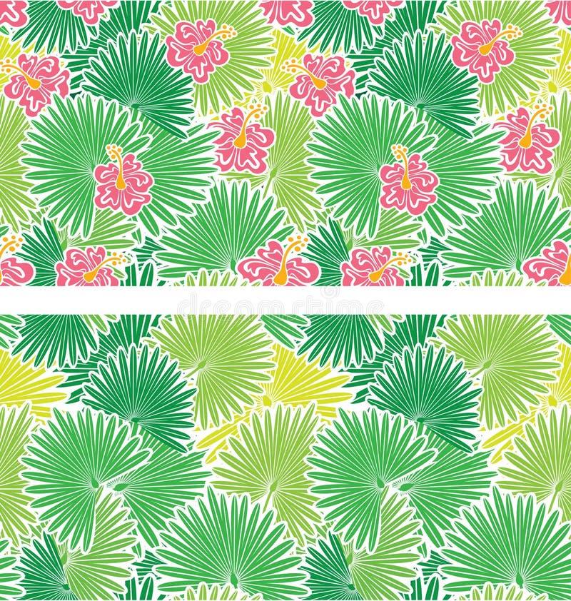 Sistema de modelos inconsútiles con las hojas de las palmeras stock de ilustración