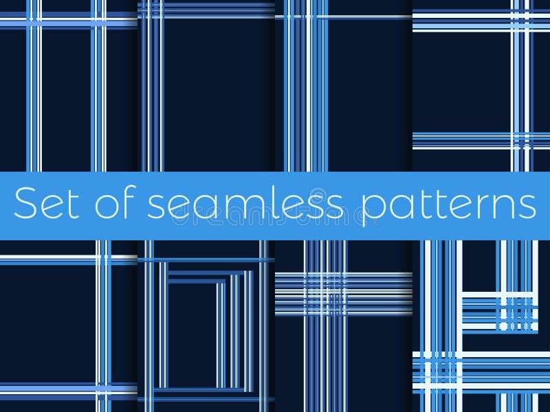 Sistema de modelos inconsútiles con las rayas en una jaula Líneas en un fondo azul Vector libre illustration
