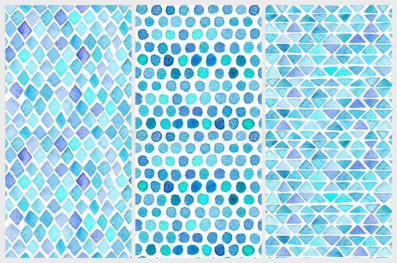 Sistema de modelos inconsútiles de la acuarela Formas geométricas simples stock de ilustración