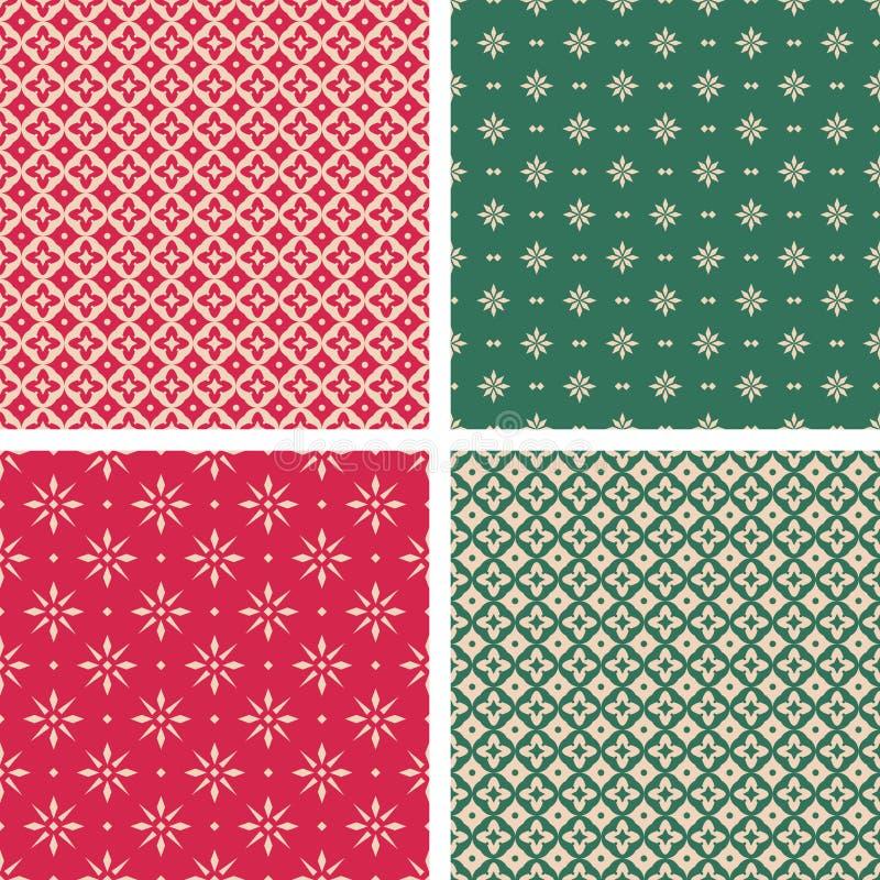 Sistema de modelos inconsútiles de la Navidad en estilo del vintage ilustración del vector