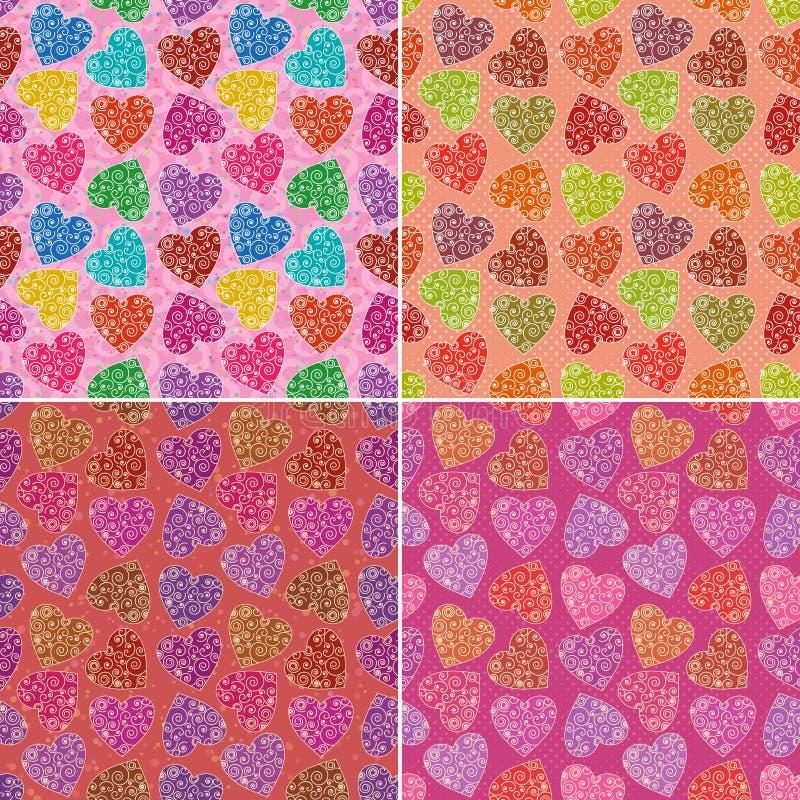 Sistema de modelos inconsútiles de los corazones de la tarjeta del día de San Valentín ilustración del vector