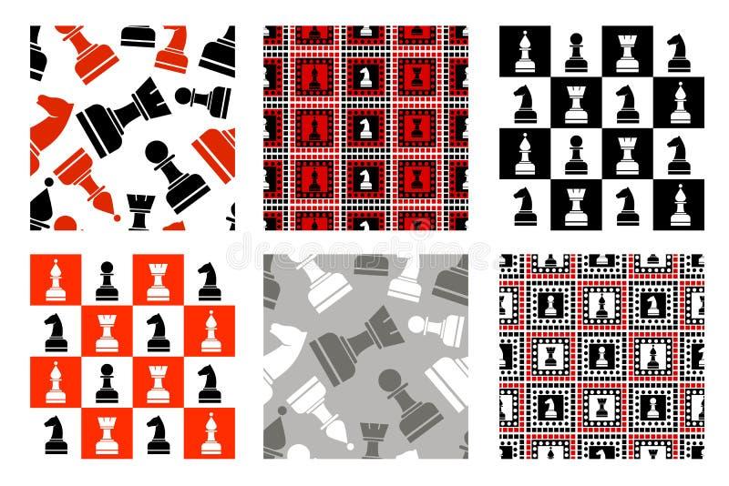 Sistema de modelos inconsútiles del vector con los iconos del ajedrez ilustración del vector