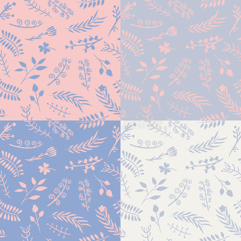 Sistema de 4 modelos inconsútiles del vector floral libre illustration