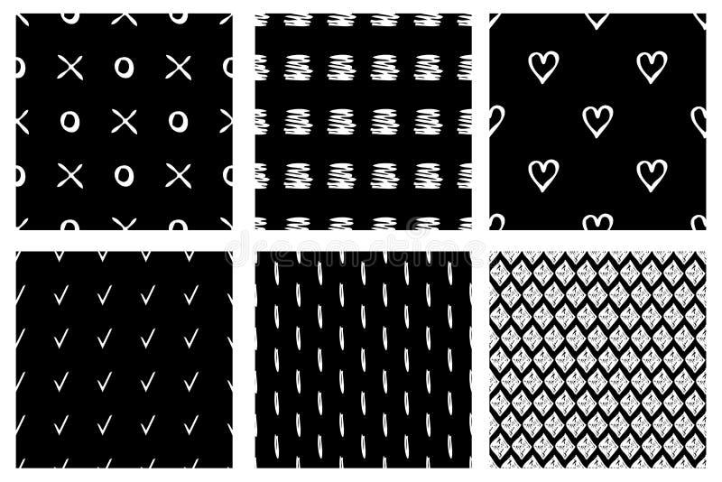 Sistema de modelos inconsútiles del vector Fondos sin fin geométricos blancos y negros con las formas geométricas dibujadas mano, stock de ilustración
