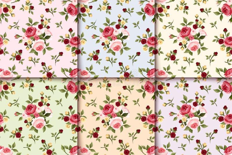 Sistema de modelos inconsútiles del vintage con las rosas Vector EPS-10 stock de ilustración