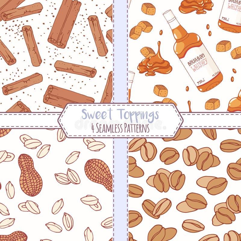 Sistema de modelos inconsútiles dibujados mano con canela, caramelo del borbón, el cacahuete y los granos de café Fondos dulces d ilustración del vector