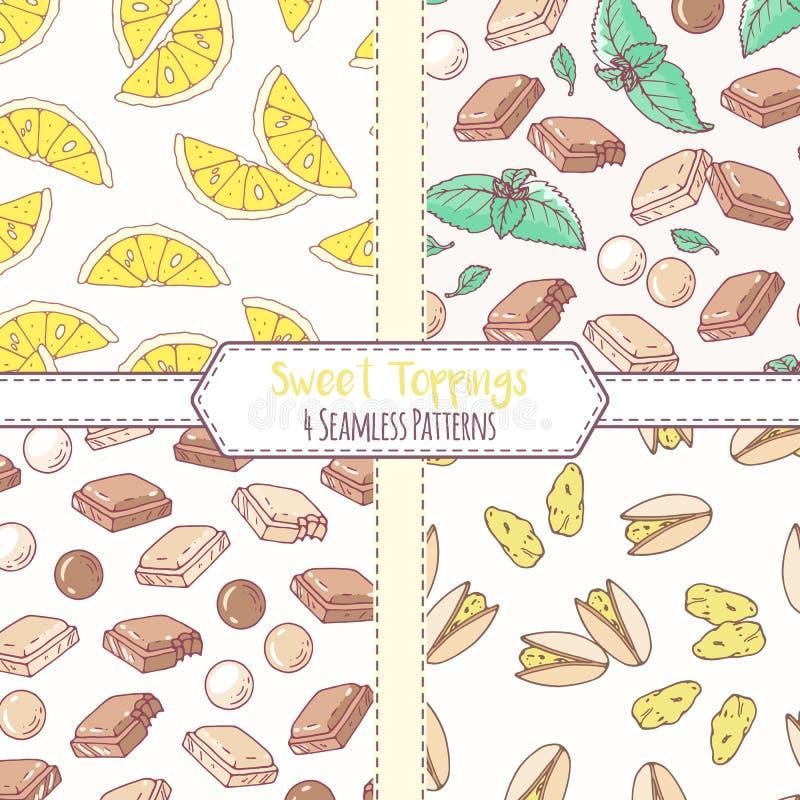 Sistema de modelos inconsútiles dibujados mano con el limón, el pistacho, el chocolate y la menta Fondos dulces de los desmoches ilustración del vector