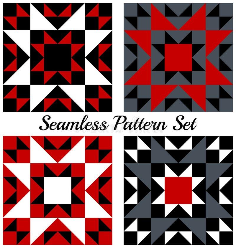 Sistema de 4 modelos inconsútiles geométricos de moda con los triángulos y los cuadrados de sombras rojas, negras, grises y blanc ilustración del vector
