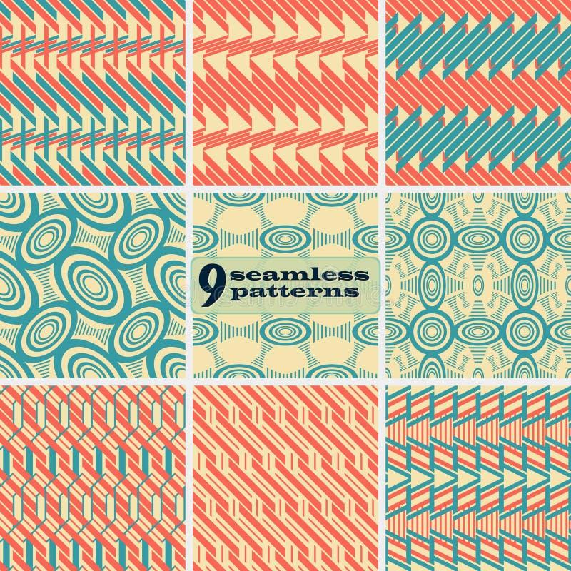 Sistema de modelos inconsútiles geométricos en colores del vintage stock de ilustración