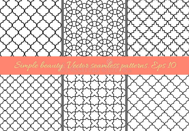 Sistema de modelos inconsútiles geométricos en estilo oriental Enrejado, quatrefoil, tejas Backgrou geométrico marroquí, árabe, t libre illustration