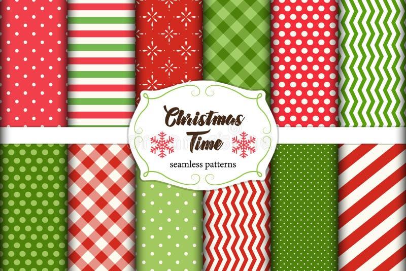 Sistema de 12 modelos inconsútiles lindos del tiempo de la Navidad con los ornamentos tradicionales stock de ilustración