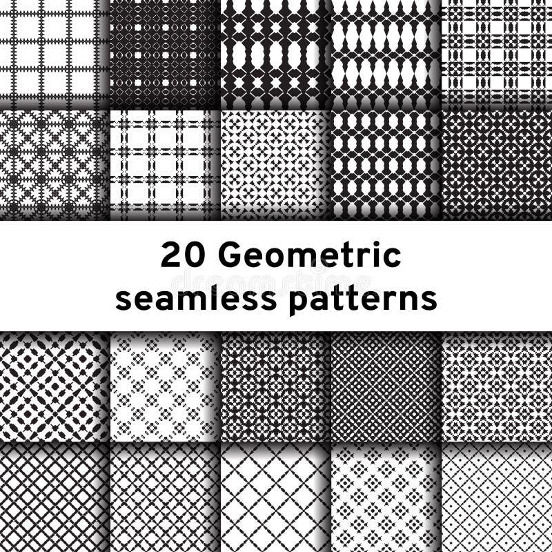 Sistema de 20 modelos inconsútiles monocromáticos stock de ilustración