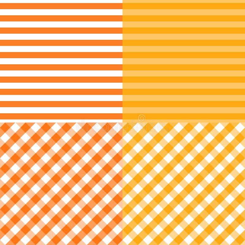 Sistema de modelos inconsútiles rayados y diagonales de los recuadros Naranja con colores amarillos Plantillas del fondo de la ba stock de ilustración