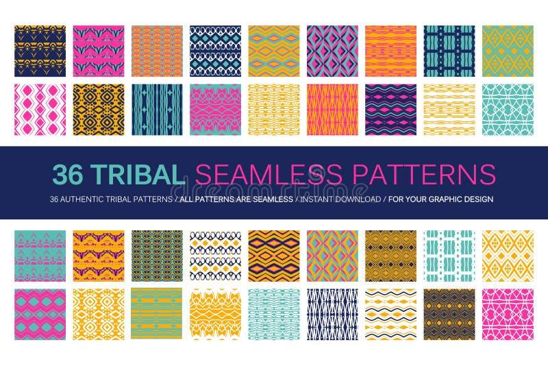 Sistema de 36 modelos inconsútiles tribales libre illustration