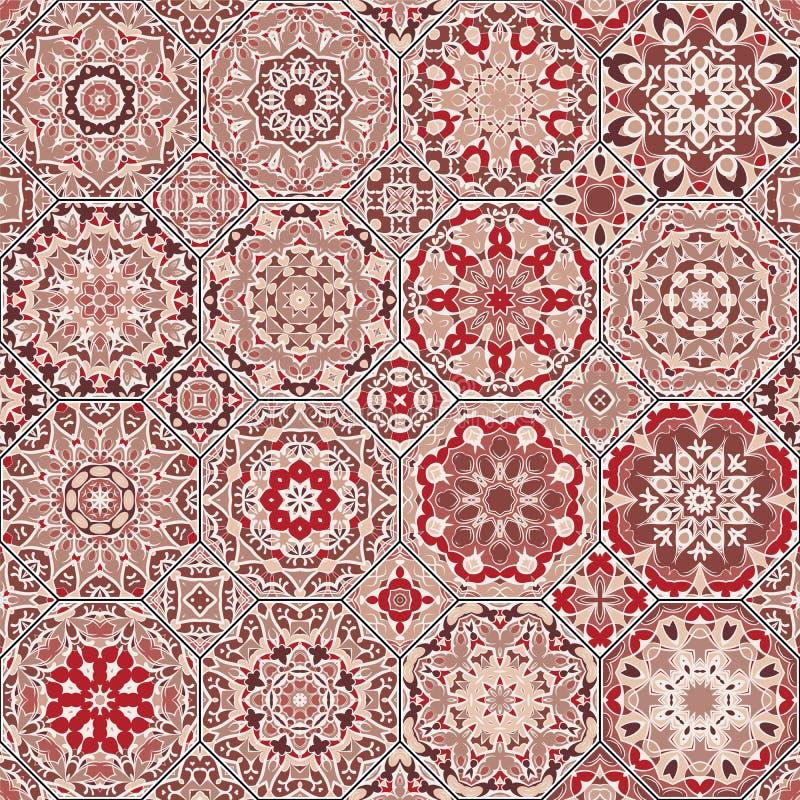 Sistema de modelos octagonales y cuadrados stock de ilustración