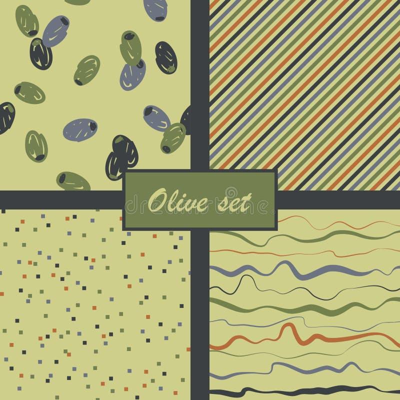 Sistema de modelos verdes olivas abstractos Ilustración del vector ilustración del vector