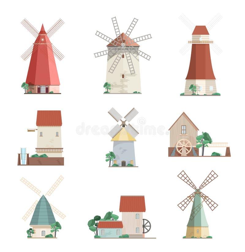 Sistema de molinoes de viento coloridos y watermills de diversos tipos - delantal, torre, molinos de los posts aislados en el fon ilustración del vector