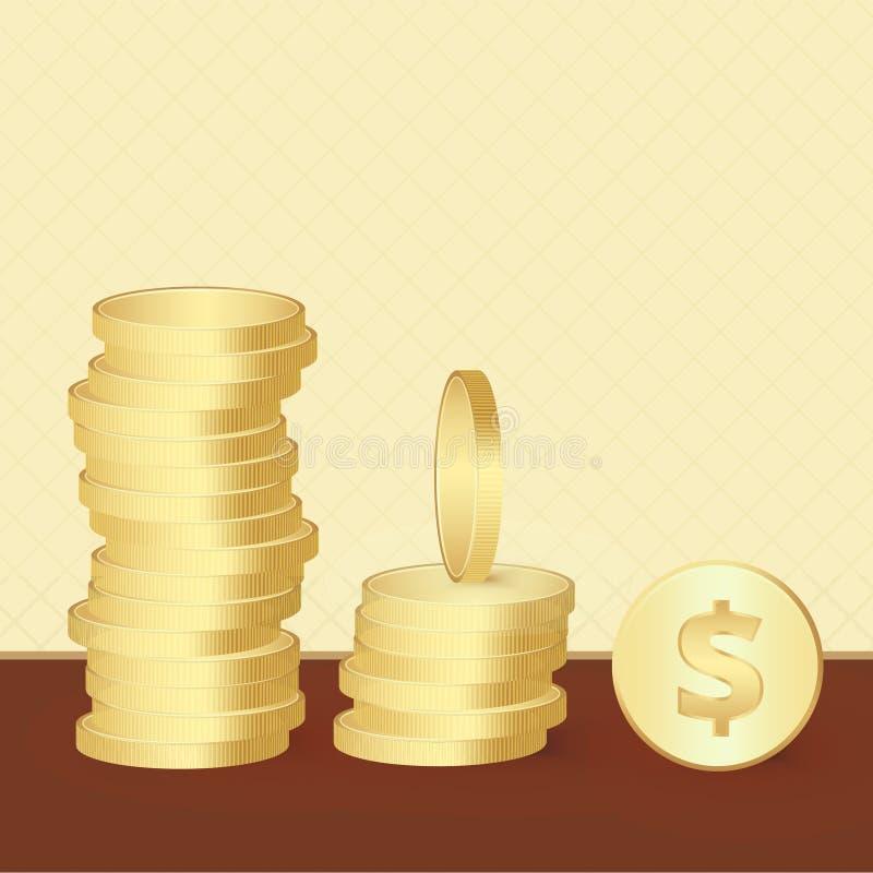 Sistema de monedas de oro brillantes brillantes en diverso punto de opiniones Objetos abstractos de la moneda stock de ilustración