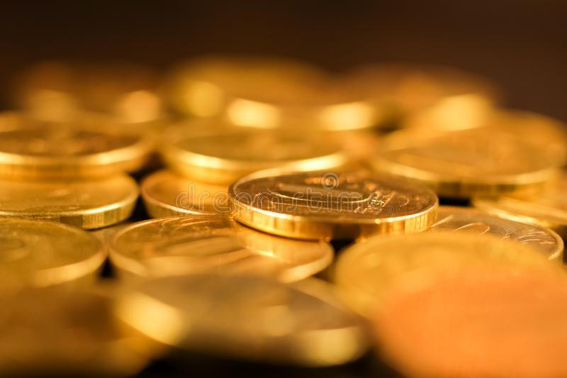 Sistema de monedas de la rublo rusa Dinero en circulación ruso imagen de archivo libre de regalías